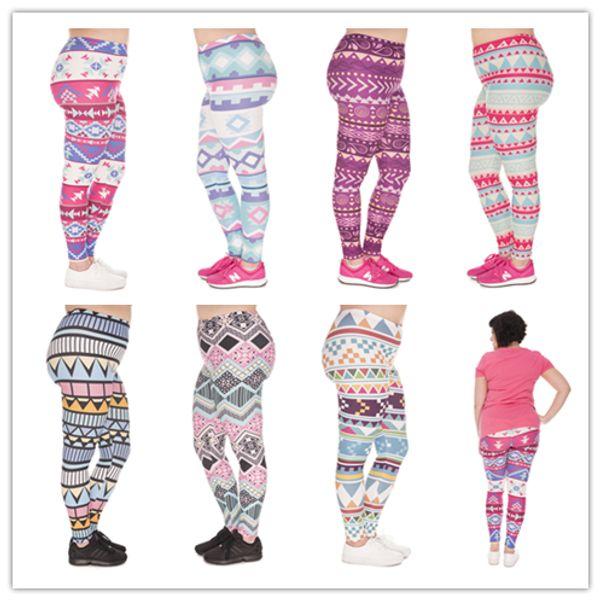 DHL FREE!! 10pcs/lot Large Size Women Leggings Aztec Morski Printing Stretch High Waist Plus Size Trousers Pants For Plump Women 7 Styles