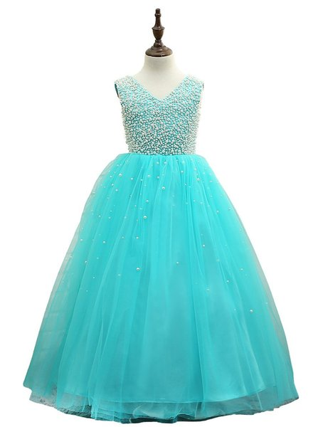 2017 Beautiful Floor Length Turquoise Flower Girls Dresses Beaded Pageant Gowns for Kids Wedding Prom Party Dresses For Girls