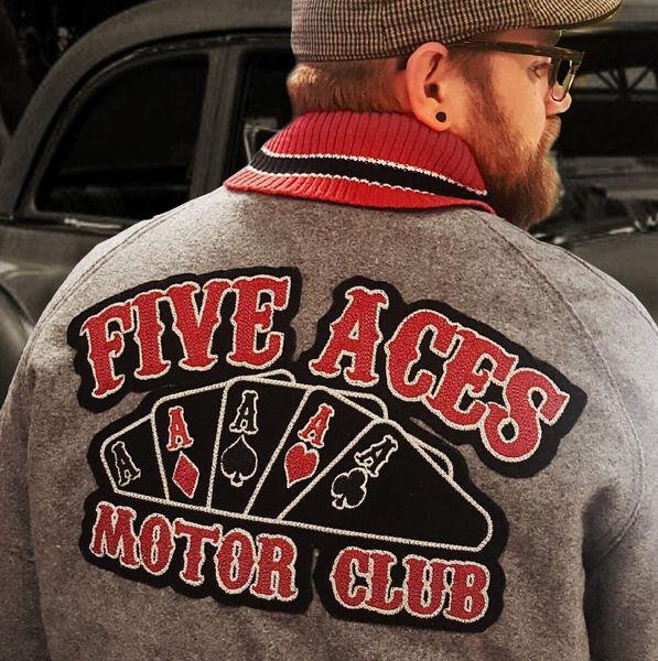LAS CINCO MEJORES ACES CARD A MOTOCICLETA FRESCA MC LARGE BACK PATCH ROCKER CLUB CHALECO OUTLAW BIKER MC PATCH ENVÍO GRATIS