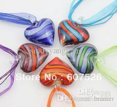 New 25pc Baroque Style Wholesale Mix Color Fashion Italian Gold sand Heart Beaded Lampwork murano glass pendant necklace jewelry