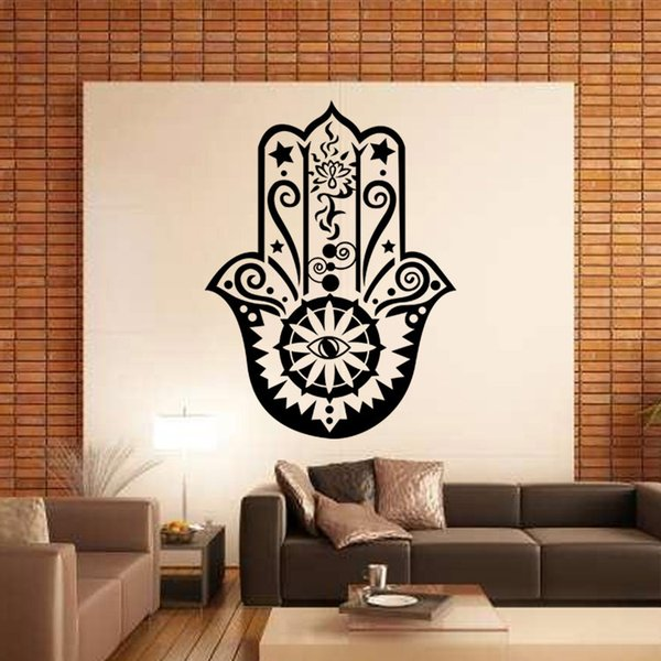 Art Design Hamsa Hand Wall Decal Vinyl Fatima Yoga Vibes Sticker Fish Eye Decals Buddha Home Decor Lotus Pattern Mural Stickers For Walls In Bedrooms