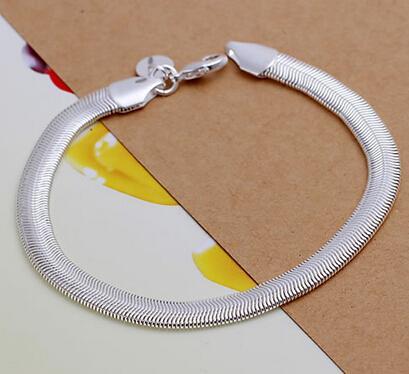 Wholesale! Free Shipping 925 silver bracelet,hot 925 solid silver fashion jewelry Flat Snake Bone Bracelet Bangle 10PCS