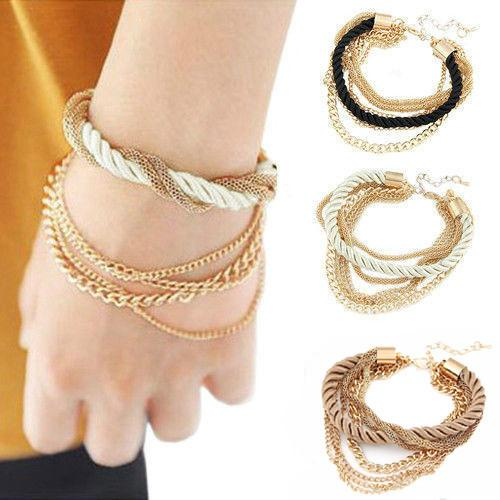 New fashion low-key costly handmade gold chain braided rope multilayer bracelet chain bracelet SL010