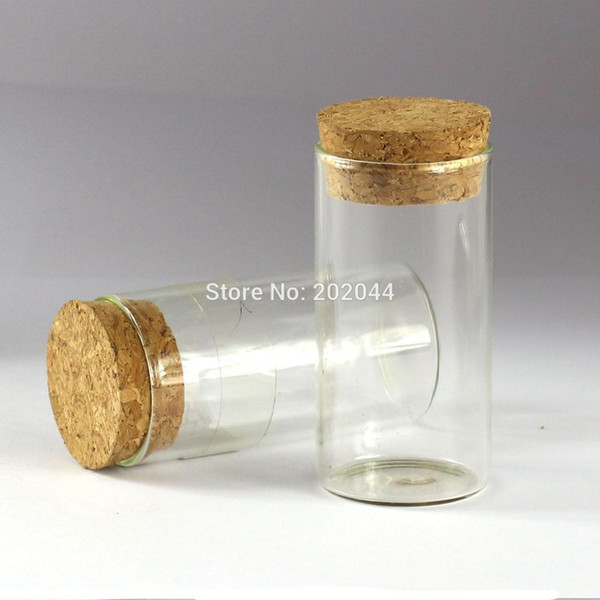 wholesale- 50pcs 25ml 30*60mm 1.18*2.36 in small glass bottles vials jars with cork ser decorative corked mini wising glass bottle