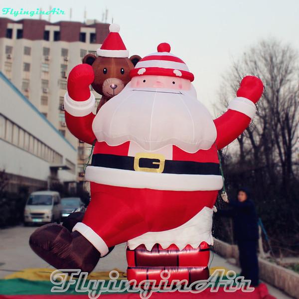15ft Christmas Climbing Santa Inflatable Santa from Chimney with Bear