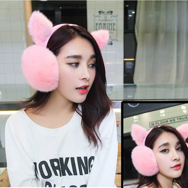 All'ingrosso-2017 di alta qualità donne orecchie di coniglio pelliccia orecchie copertura orecchio caldo delle donne bella calda coreana inverno copertura termica dell'orecchio
