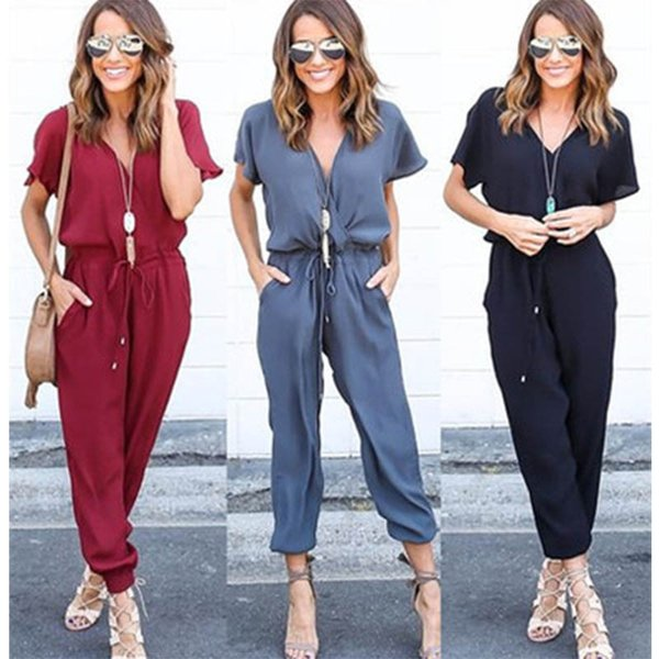 Jumpsuits for Women 2017 Sexy Elegant Jumpsuit Women V Neck Playsuit Casual Loose Short Sleeve Fashion Lady Full Length Rompers