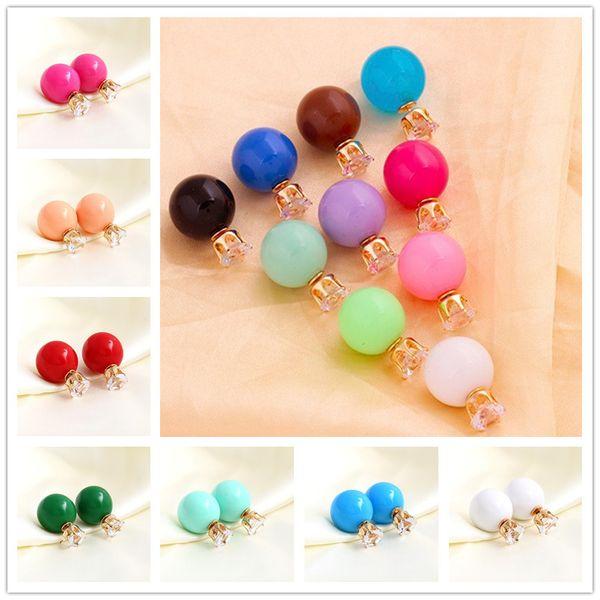 10Colors Hot Selling 16MM Double Balls Side Pearl Stud Earrings 925 silver Crystal Zircon Crown Stud Earrings Fashion DR Jewelry for Women