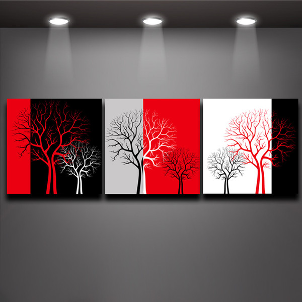 Red Black White Three Colors Tree Picture Oil Painting Prints on Canvas Mural Art Home Living Office Wall Decor