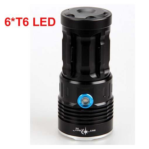 free Epacket, SkyRay 6x XM-L T6 LED 3Mode Hunting Flashlight 8000 Lumens Flash Light Lantern 6T6 LED Torch by 4pcs 18650 Battery