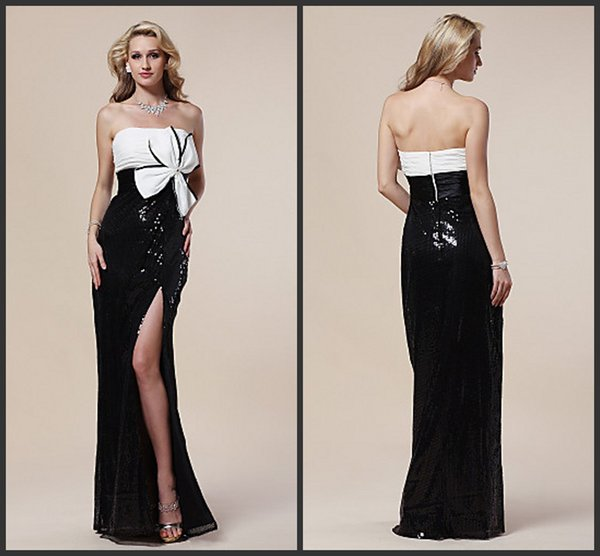 Langes schwarzes tragerloses kleid