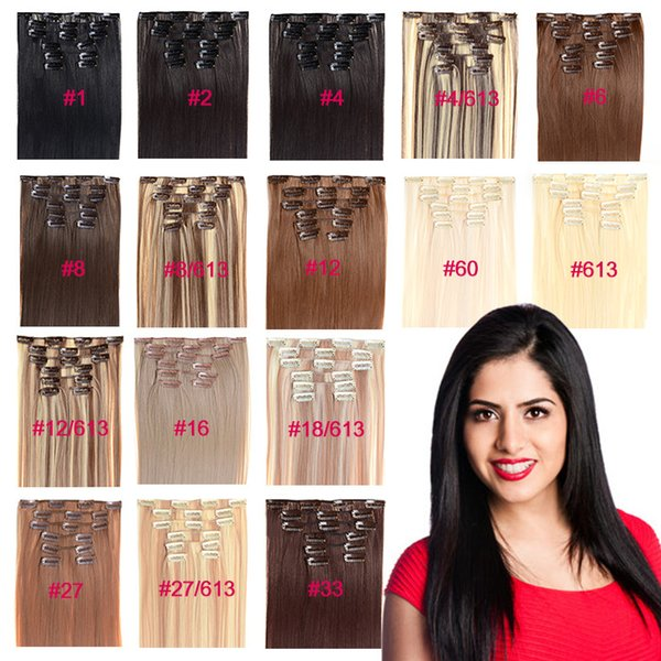 "best selling 22"" Full Head Clips In GradeAAA+Synthetic Hair Extension 30 Colors In Stocks 7PCS set 100G High Quality Synthetic Clips Hair Extension"