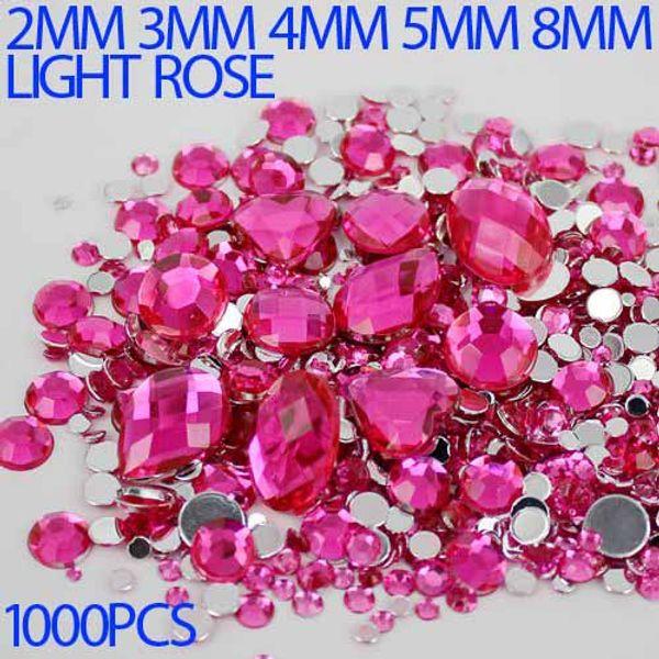 Wholesale-Mix Sizes rose Color Round strass Acrylic Loose Non-Hotfix Flatback Rhinestone Nail Art Crystal Stones For Wedding Decorations