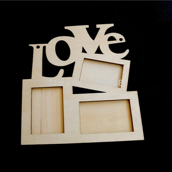 top popular Hollow Love Wooden Photo Frame White Base DIY Picture Frame Art Decor 2019