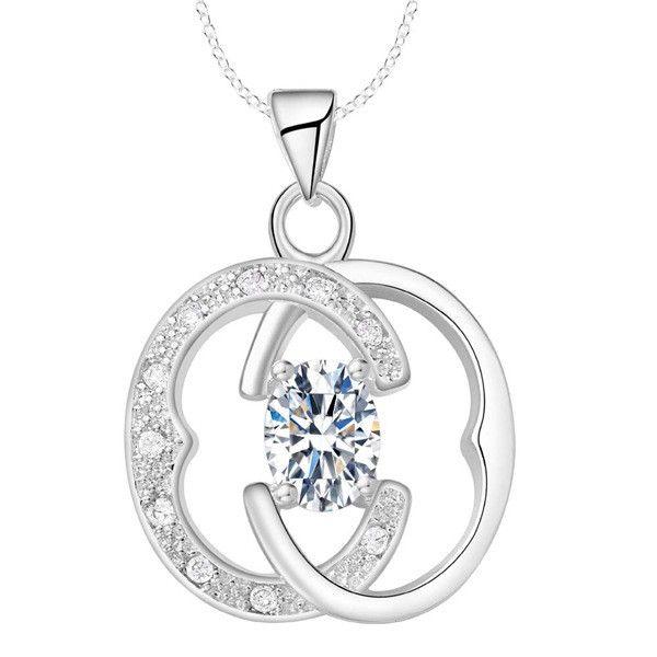 Con 925 collar de plata de moda joyas collar de diamantes AN1576- blanco, AN1577- rosa, AN1578- púrpura