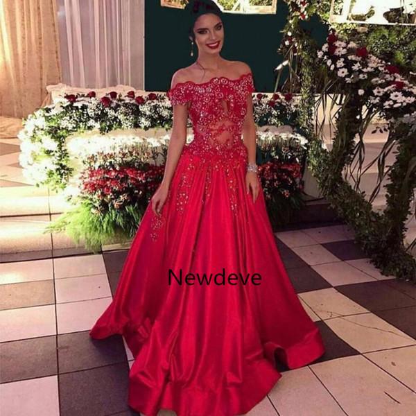 Compre Cristales Brillantes Diamantes De Imitación Vestidos De Baile Largos Fuera Del Hombro Vestidos De Noche Una Línea Vestidos Rojos Fiesta De