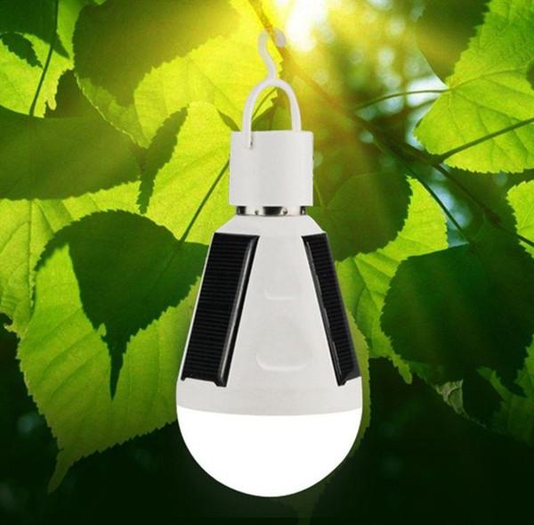 7W 12W E27 Colgante de energía solar recargable de emergencia bombilla LED Luz del día luz solar IP65 Impermeable Paneles solares Powered Night Lamp LLFA