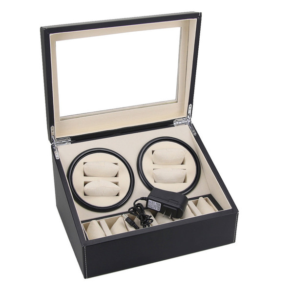 best selling DHL send 4+6 Black PU Leather Automatic watch winder 4 box slient motor box for watches mechanism cases with drawer storage display watches