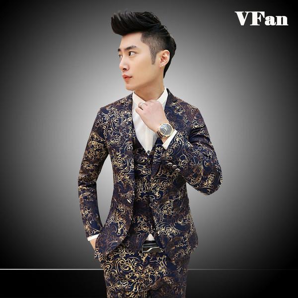 (Jacket+Pant+Vest) Casual Men Suits Fashion Spring 2015 New Style One Button Flower Striped Suit Sets Z1251