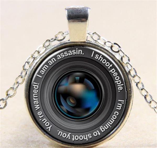 SLR camera lens 02 Sliver Art Jewelry Raven Necklace Pendant Gifts for HER