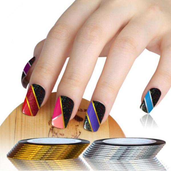 15 Golden + 15 Slice Rolls Striping Tape Línea Consejos Decoración Pegatinas Nail Art Herramientas de manicura DIY