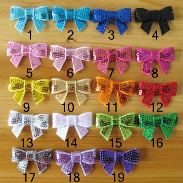 4CM Bowknot Embroidery sequins Bows hair bling bling Bow tie bow hairband kids Hair Accessories 19 colors christmas gift D667J