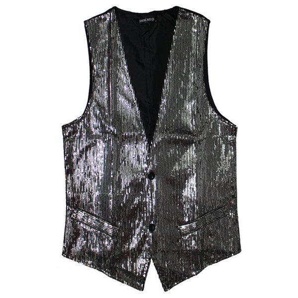 best selling Fall-Hot Men Sequin Vest Paillette Stage Performance DJ Night Club Bar Service Show Waistcoat Sleeveless Jacket For Singers