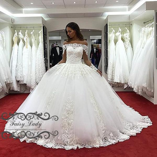 Gorgeous 2018 Off Shoulder Country Bridal Wedding Dresses With Long Sleeves Sheer Lace Appliques White Puffy Ball Gown For Women Court Train