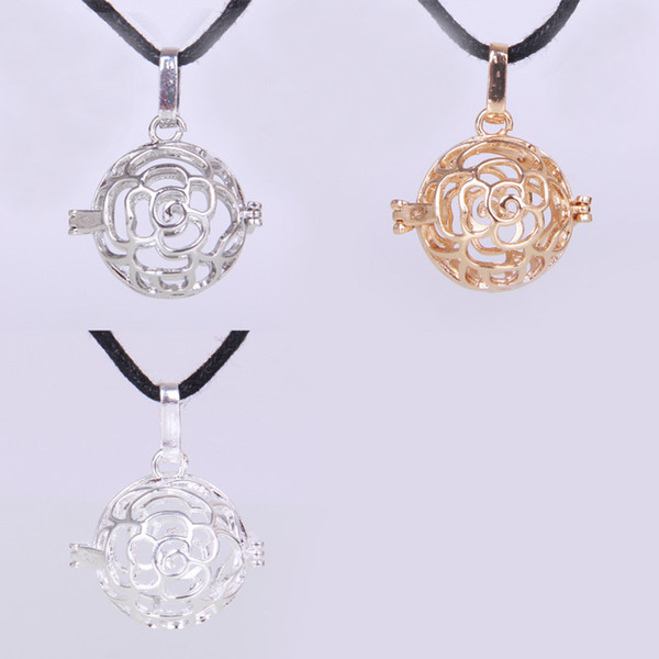 2015 DIY jewelry New Fit European Charm Gold Angel Ball Flower Hollow Out Ball Box Pendant Jewelry Musical Bell Necklace