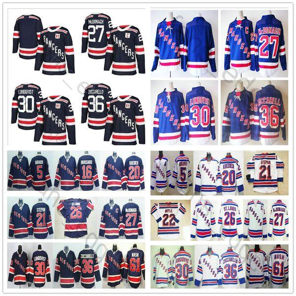 2018 Новый сезон New York Rangers Winter Classic Хоккейные майки # 27 Райан МакДонах 36 Матс Цуккарелло 61 Рик Нэш 30 Хенрик Лундквист