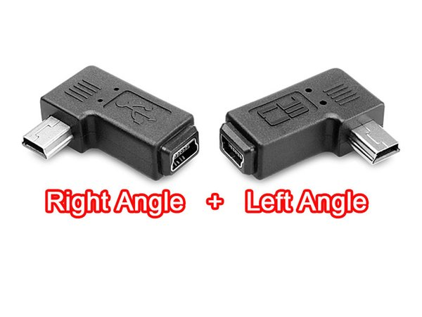 1pair Right + Left Angle Direction 90 Degree 5Pin Mini USB B Male to Female M/F Adapter Connector Jack