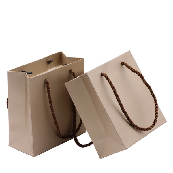 Jewelry Packing Paper Bag Fashion Small Size with Cord Handle Shop Promotion Gift Bag Shopping Strong Cardboard Bags
