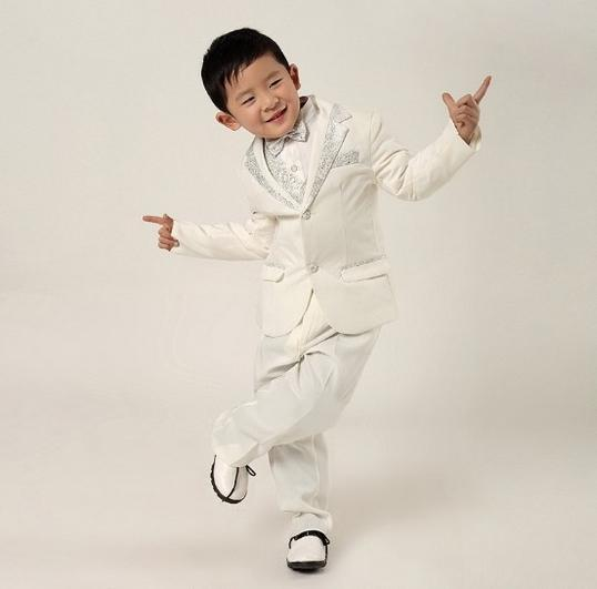 new boy's suit luxurious atmosphere white silver dress wear suits small sales in children