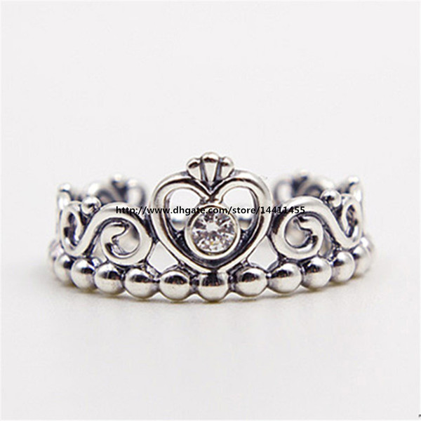 top popular Fashion Jewelry Women Ring European Style Charm Ring High-quality 100% 925 Sterling Silver Princess Tiara Ring with Clear Cz 2020
