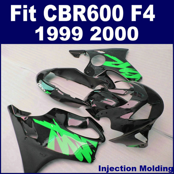 100% ABS racing Injection molding for HONDA fairing parts CBR 600 F4 1999 2000 green black cbr600 f4 99 00 custom fairing VOAE