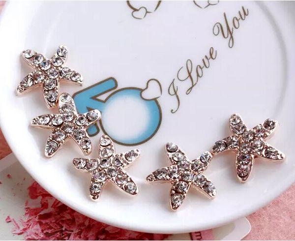 50 unids 17 mm Crystal Starfish Beads botones para Scrapbooking Craft Hair Clip Decor