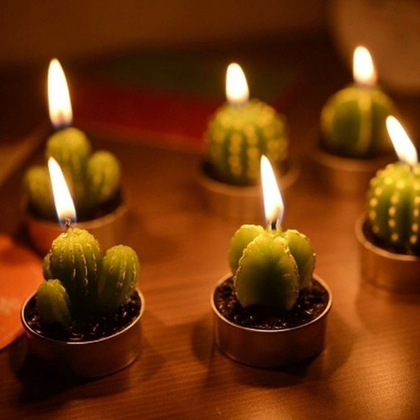6pcs Artificial Green Cactus Mini Candle Smoke-free Home Decor Valentine Day Gift Plant Pot Candles Party Decoration L026