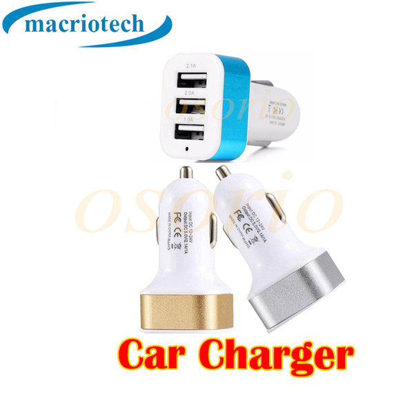 Universal Vehicle 12V-24V 3 Ports USB(1A,1A,2.1A) DC Car Charger USB Power Adapter High Capacity 3 Way Adapter For Cellphone tablet