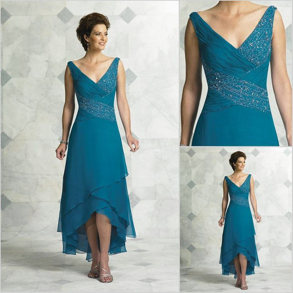 top popular 2017 Elegant Mother Of The Bride Dresses V Neck Pleated Beading Chiffon Tea Length High Low Turquoise Women Party Dress Prom Dresses 2019