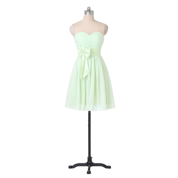 New Cheap Light Green Bridesmaid Dresses 2019 Sweetheart Bow Belt Pleated Chiffon Short Prom Gowns Zipper Back Custom Made B88