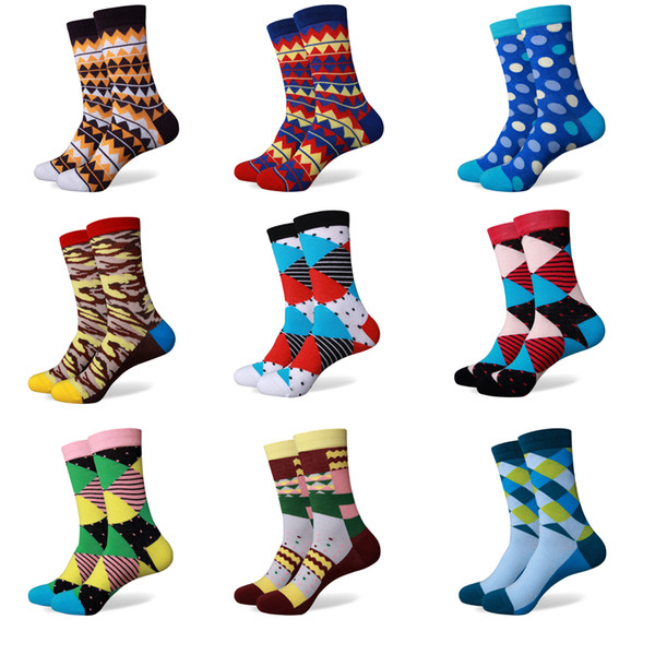 top popular Match-Up Wholesale price Men's Colorful Cotton socks without LOGO free shipping us size(7.5-12)264-284 2021