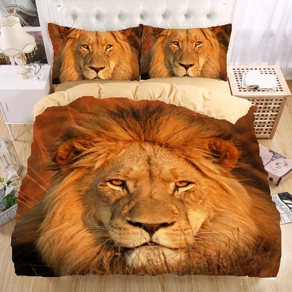 Vente en gros - Ensemble de literie Lion 3D Monocerus Ensemble housse de couette Twin queen king Beau motif véritable effet de literie réaliste