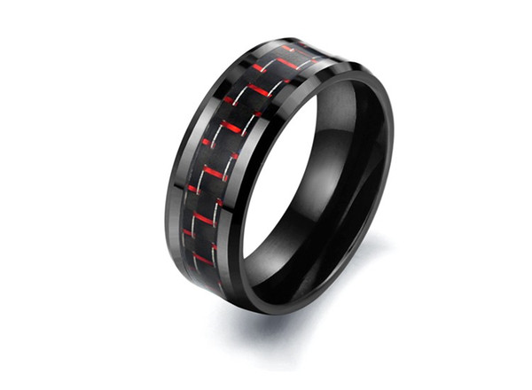 Black Ceramic Whorl Rings red Metal colors titanium stainless steel mens rings Carbon fibre Jewelry Size 6 to 12 WJ201