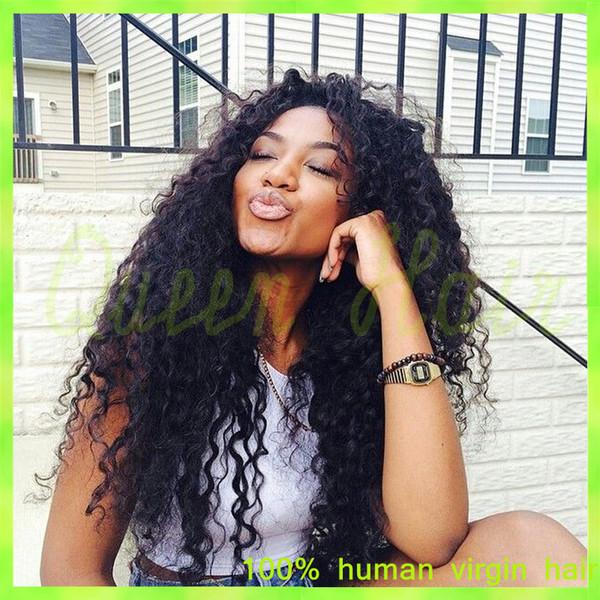 7a brazilian human hair curly wigs for black women brazilian curly full lace human hair wigs with baby hair DHL free ship