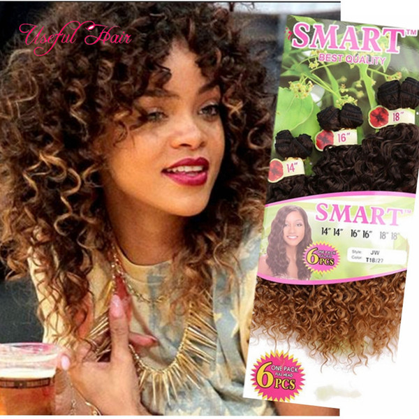 FASHION 6pcs/lot SMART BEST QUALITY synthetic weft hair ombre BROWN color Jerry curl crochet hair extensions crochet braids hair weaveS