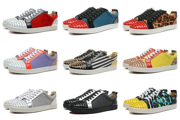 mixed colors suede toe studs junior spikes flat Low top Red Bottom Shoes Men women Genuine Leather