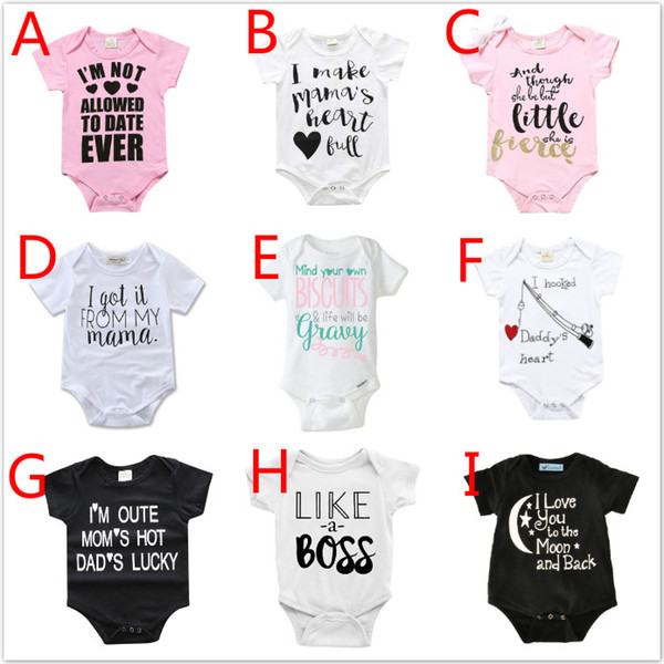 0aeae50a093e8 2019 INS Summer Baby Bodysuits Rompers Onesies Clothes Newborn Babies  Letter Short Sleeve One Piece Clothing Jumpsuits Toddlers Cotton Rompers  From ...
