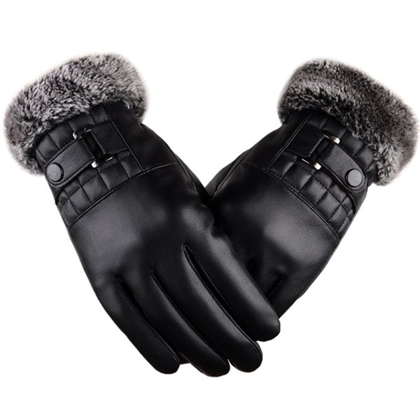 Men Winter Warm Leather Gloves Motorcycle Driving Fitness Fur Gloves Touchscreen Soft Thick Fleece Lining Outdoor Windproof