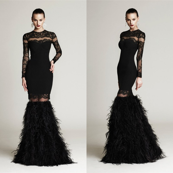 Black Feather Jewel Long Sleeve Evening Dresses 2015 New Arrival Detachable Skirt Sweep Train Celebrity Gowns Custom Made China EN63019