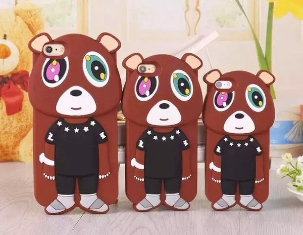 Cute Bear soft rubber Silicon Phone Case Phone Cover For Apple iPhone5 5s 6 6plus naughty playful bears 3D Cartoon silicone Phone Skin